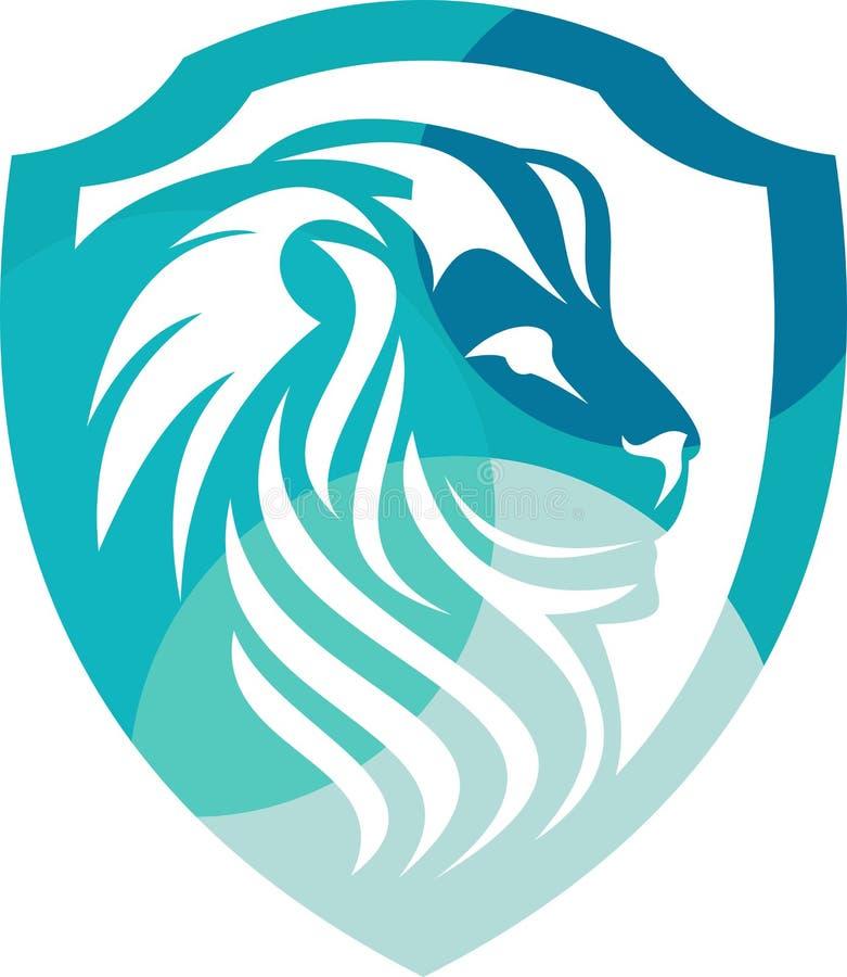 Protezione di riserva del leone di logo variopinta immagini stock
