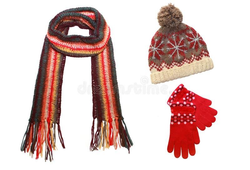 Protezione, sciarpa tricottata e guanti isolati su bianco fotografia stock