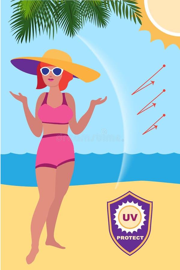Protezione solare della donna proteggere l'insegna di concetto, stile del fumetto illustrazione vettoriale