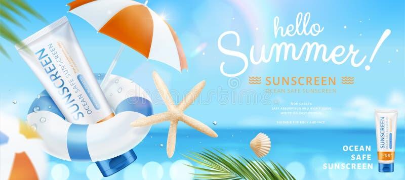Protezione solare sicura dell'oceano di estate royalty illustrazione gratis