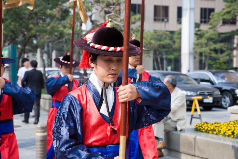 Protezioni del palazzo dell'imperatore a Seoul fotografie stock libere da diritti