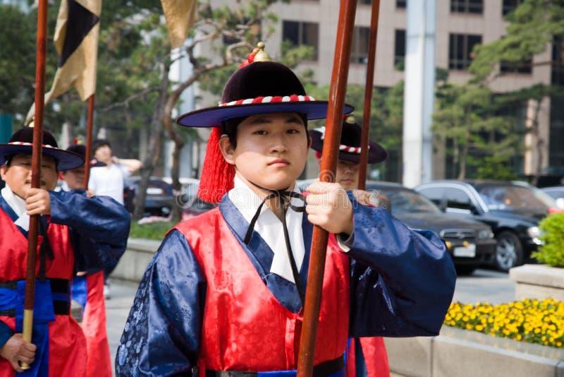 Protezioni del palazzo dell'imperatore a Seoul fotografie stock