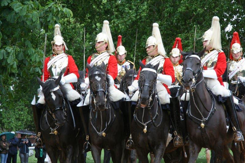 Protezioni di cavallo reali a Londra fotografia stock