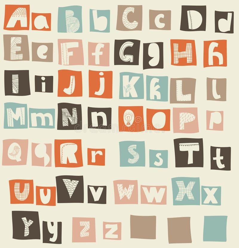Protezioni latine di alfabeto e casi più bassi nel vettore illustrazione vettoriale