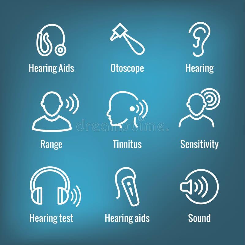 Prothèse auditive ou perte avec l'ensemble d'images d'onde sonore illustration de vecteur