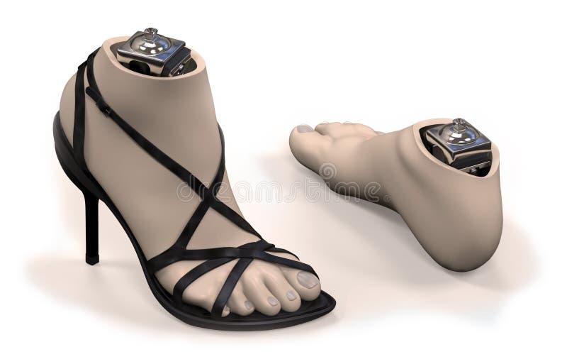 prothèse de Pied-cheville avec la coquille illustration de vecteur