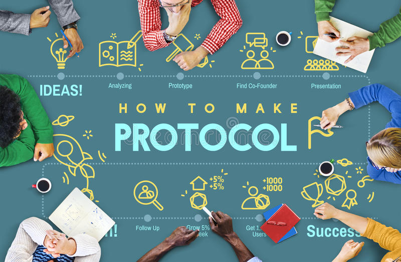 Protocol Networking Data Proper Protection Safety Concept. Computer Programmers Meeting Protocol Networking Data Proper Protection Safety royalty free stock photos