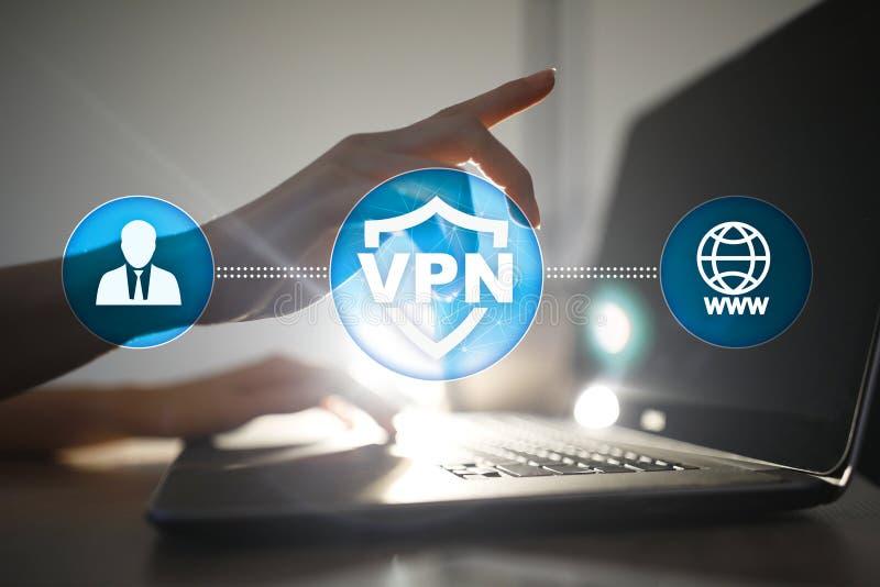 Protocole réseau privé virtuel de VPN Technologie de sécurité de Cyber et de connexion d'intimité Internet anonyme photographie stock libre de droits