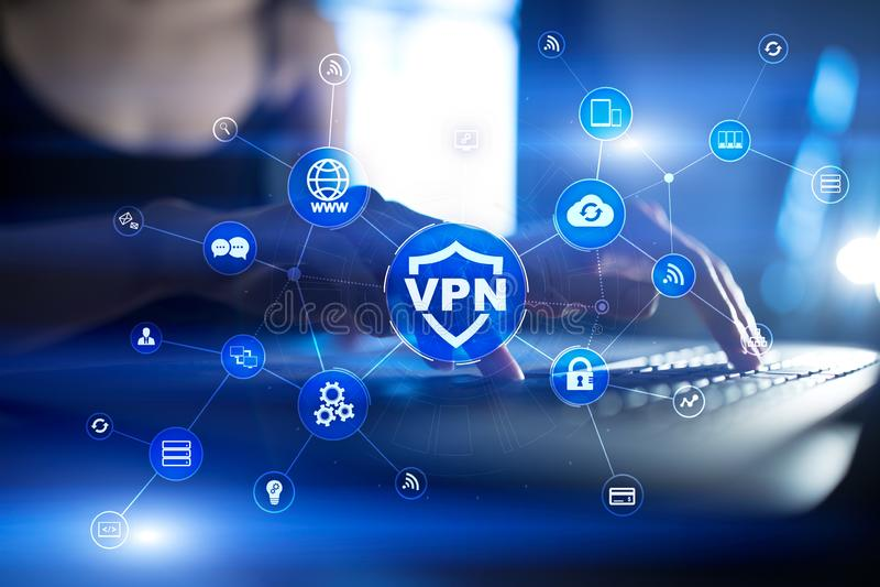 Protocole réseau privé virtuel de VPN Technologie de sécurité de Cyber et de connexion d'intimité Internet anonyme images libres de droits