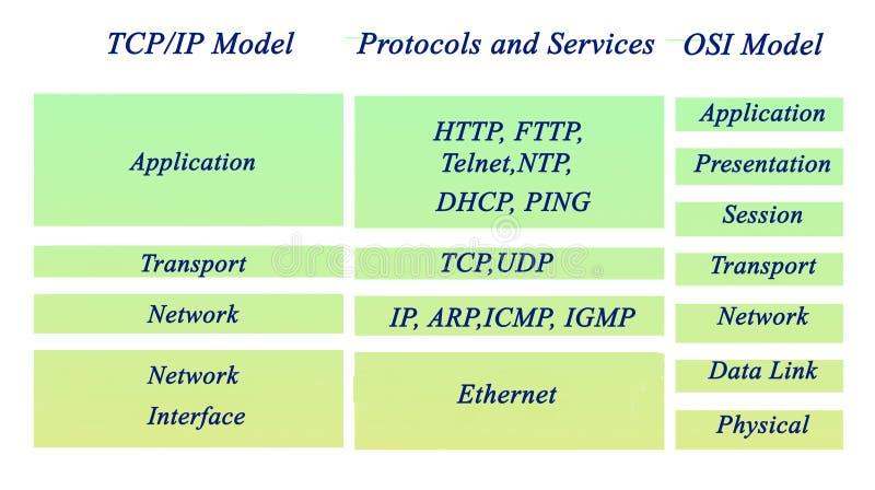 Protocoles d'OSI et de TCP/IP illustration de vecteur