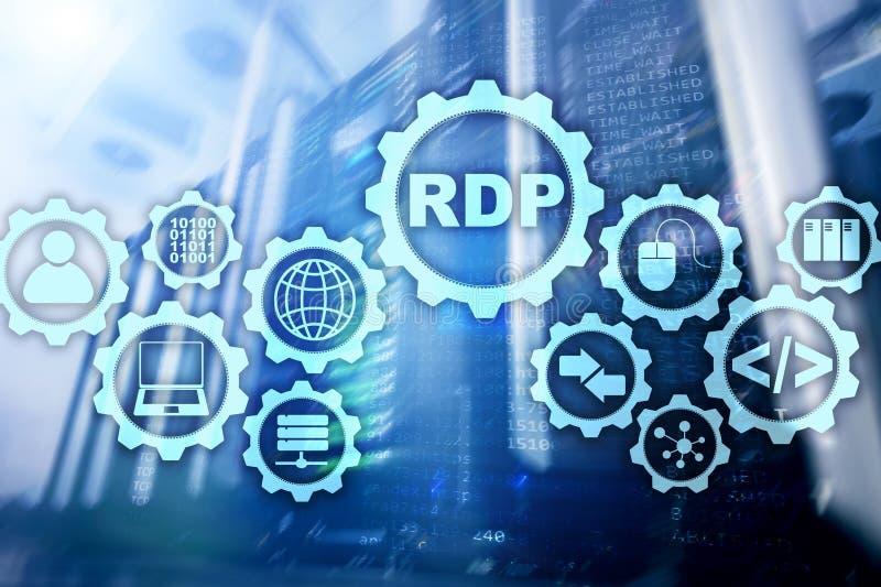Protocollo desktop remoto del RDP Servizi terminali fondo del server immagine stock libera da diritti