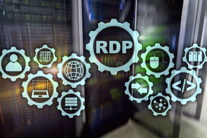 Protocolo de escritorio remoto del RDP Servicios terminales fondo del servidor stock de ilustración