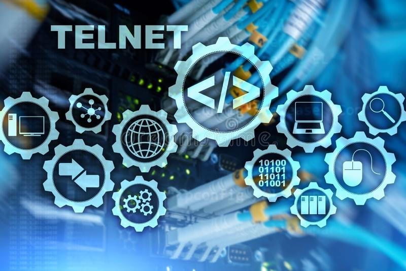 Protocolo de red del teletipo Cliente terminal virtual de Telnet Concepto de Internet y de la red telnet ilustración del vector