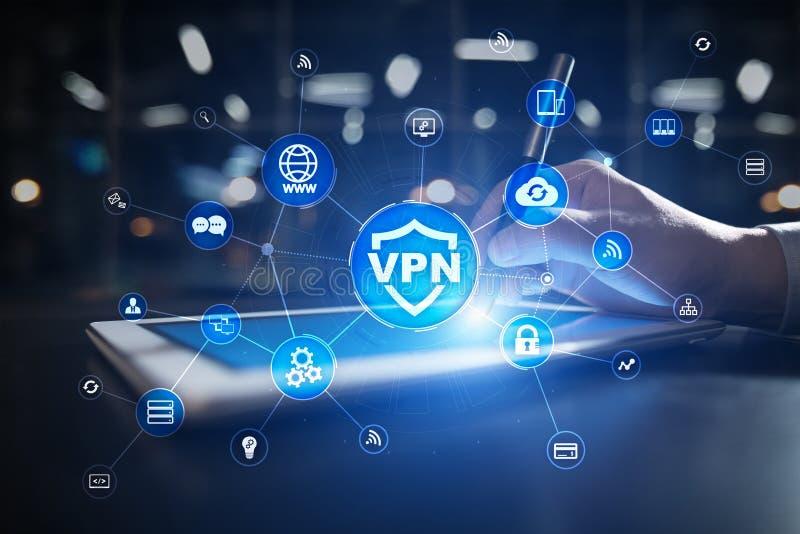 Protocolo de red privada virtual del VPN Tecnolog?a cibern?tica de la seguridad y de la conexi?n de la aislamiento Internet an?ni ilustración del vector