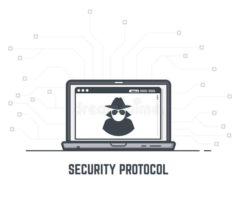 Protocolo de seguridad stock de ilustración