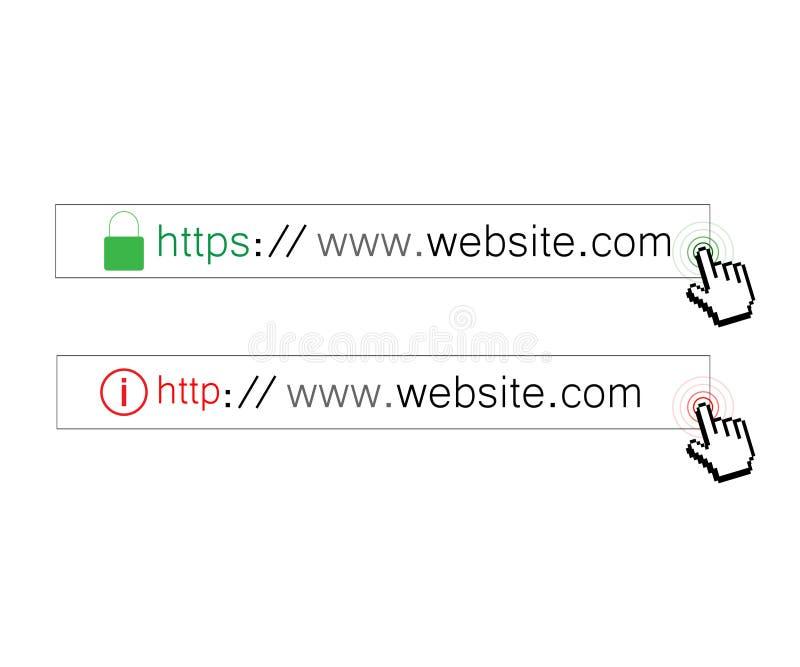 Protocolo del HTTPS https del HTTP ilustración del vector
