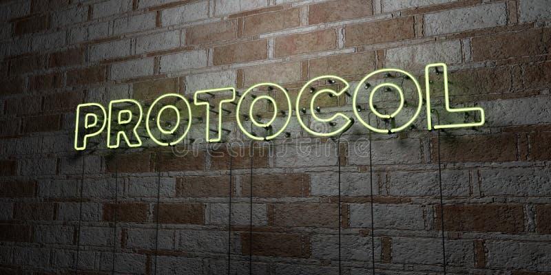 PROTOCOLO - Señal de neón que brilla intensamente en la pared de la cantería - 3D rindió el ejemplo común libre de los derechos libre illustration