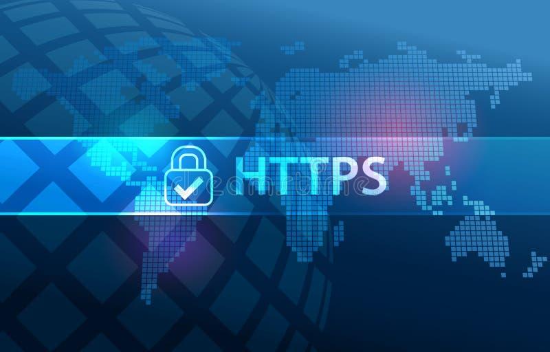 Protocolo seguro de la transferencia de datos del HTTPS en la web stock de ilustración