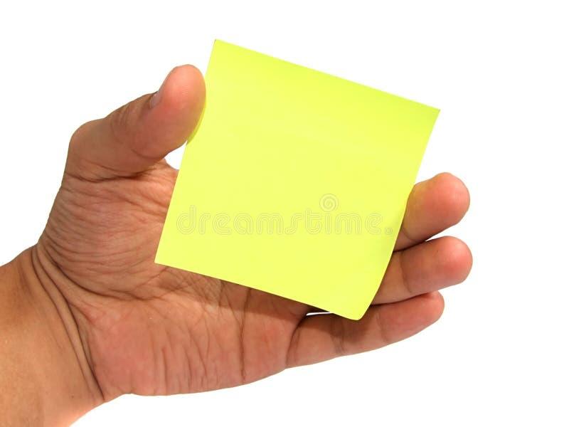 Protokoll in der Hand über Weiß stockbilder