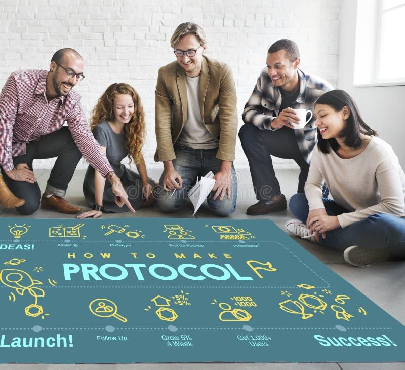 Protokoll-Vernetzungs-Daten-richtiges Schutz-Sicherheits-Konzept lizenzfreie stockfotos