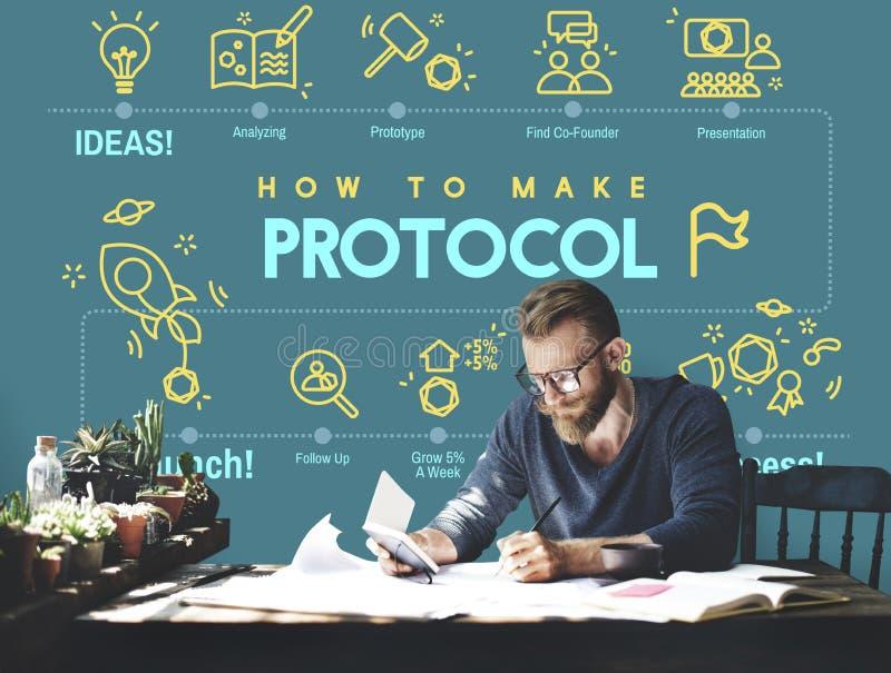 Protokoll-Vernetzungs-Daten-richtiges Schutz-Sicherheits-Konzept stockfotografie