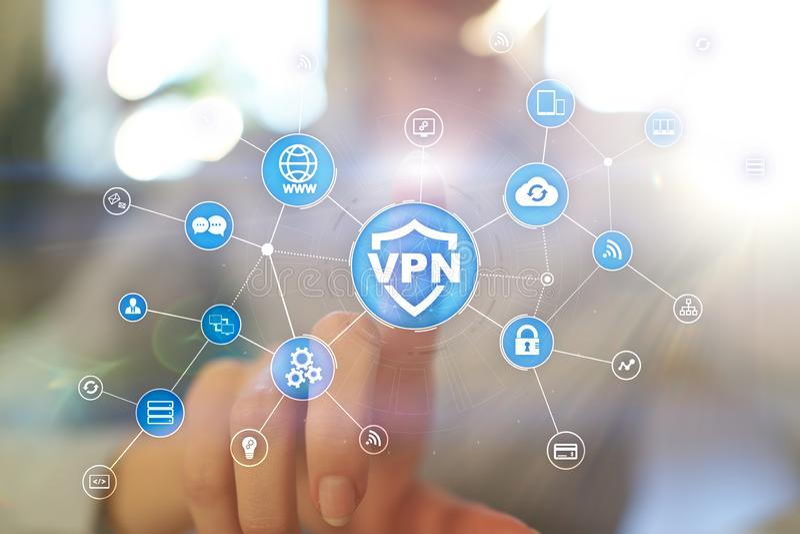 Protokoll VPN faktiskt för privat nätverk Cybersäkerhets- och avskildhetsanslutningsteknologi Anonym internet royaltyfria bilder