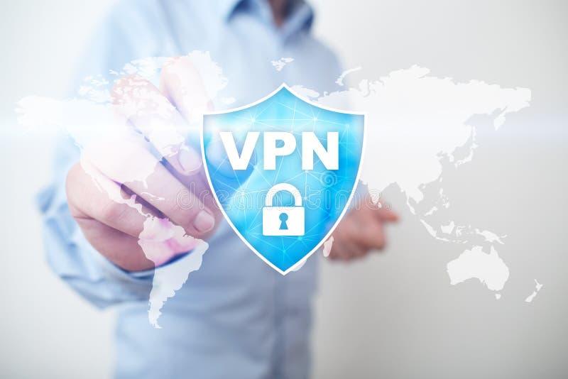 Protokoll VPN faktiskt för privat nätverk Cybersäkerhets- och avskildhetsanslutningsteknologi Anonym internet royaltyfri fotografi