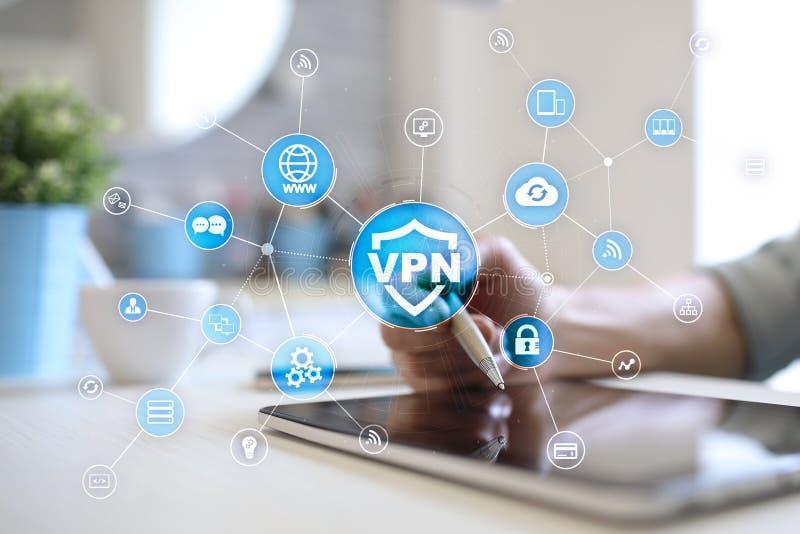 Protokoll VPN faktiskt f?r privat n?tverk Cybers?kerhets- och avskildhetsanslutningsteknologi Anonym internet arkivfoton