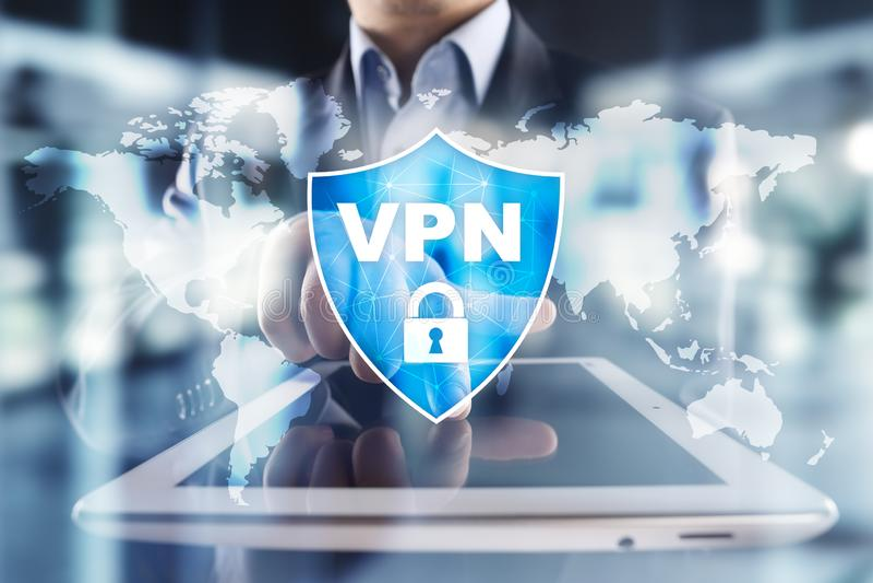 Protokoll VPN faktiskt f?r privat n?tverk Cybers?kerhets- och avskildhetsanslutningsteknologi Anonym internet royaltyfri fotografi