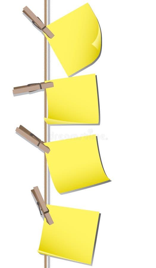 Protokollanmerkungen mit Stöpseln stock abbildung