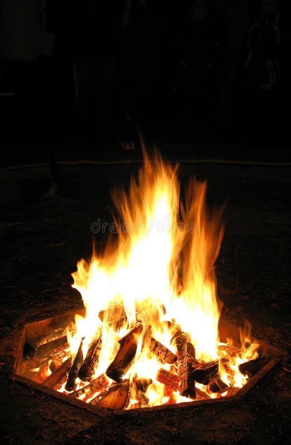 Protokolle, die auf Lagerfeuer brennen lizenzfreie stockfotos