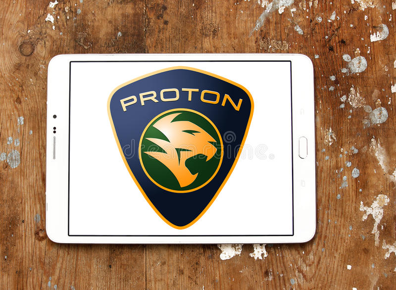 Proton-autoembleem stock foto's