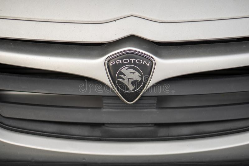 Proton-autoembleem, Maleise beroemde autofabrikant stock fotografie