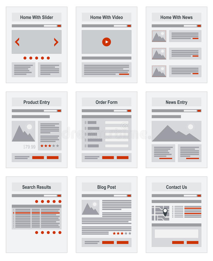 Prototipo de la estructura de exploración del mapa de página de internet libre illustration