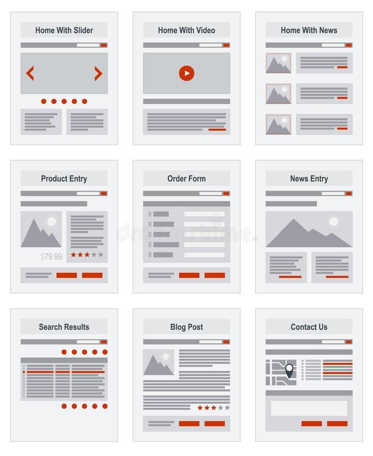 Prototyp för struktur för navigering för internetplatsöversikt royaltyfri illustrationer