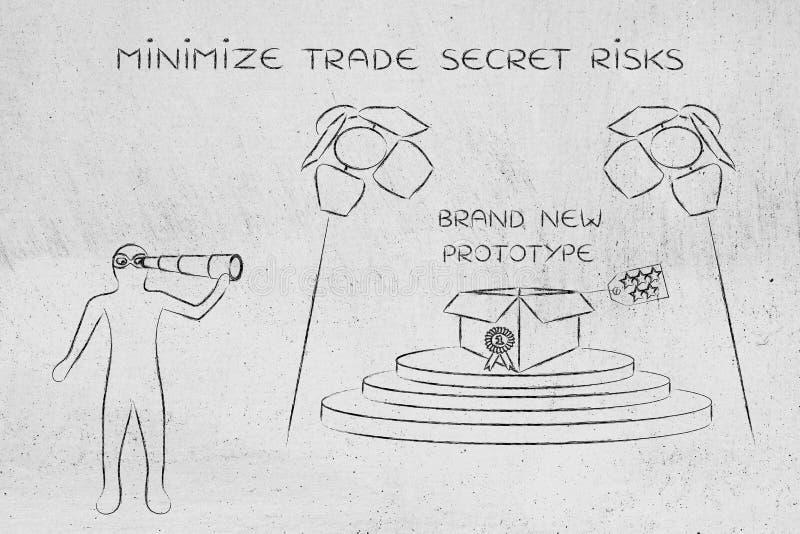 Prototyp u. Mann, die auf ihm, Konzept von Geschäftsgeheimnissen ausspionieren lizenzfreie stockfotografie