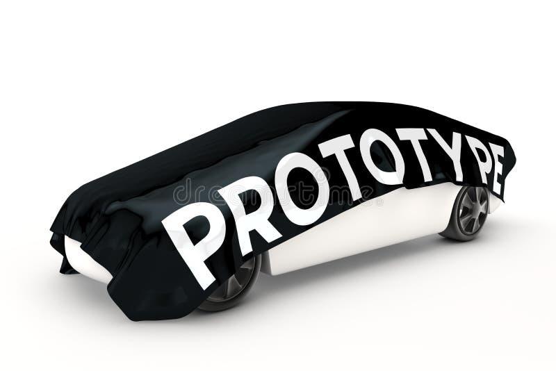 Prototypauto wird bedeckt stock abbildung