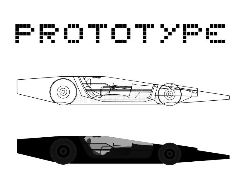 Prototypbil royaltyfri illustrationer