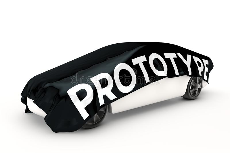 Prototype car is covered. Prototype car is covered with a black blanket stock illustration