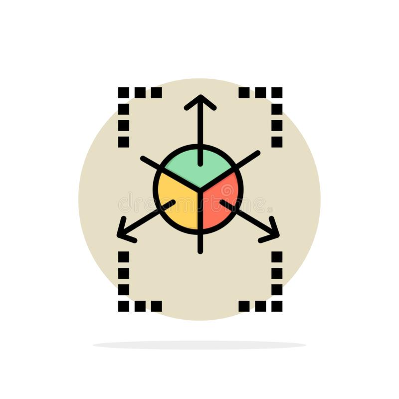 Prototype, Grid, Database, Chart Abstract Circle Background Flat color Icon royalty free illustration