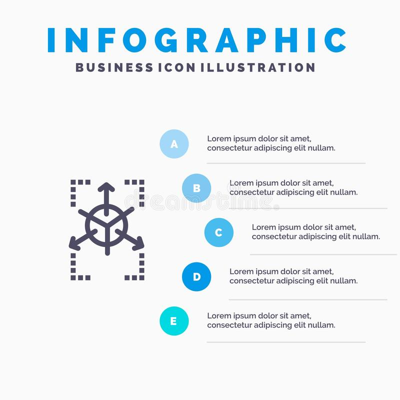 Prototype, Grid, Database, Chart Blue Infographics Template 5 Steps. Vector Line Icon template royalty free illustration