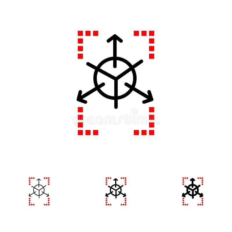 Prototype, Grid, Database, Chart Bold and thin black line icon set royalty free illustration