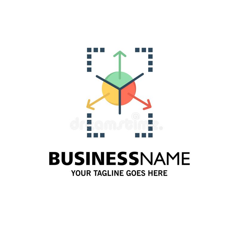 Prototype, Grid, Database, Chart Business Logo Template. Flat Color royalty free illustration
