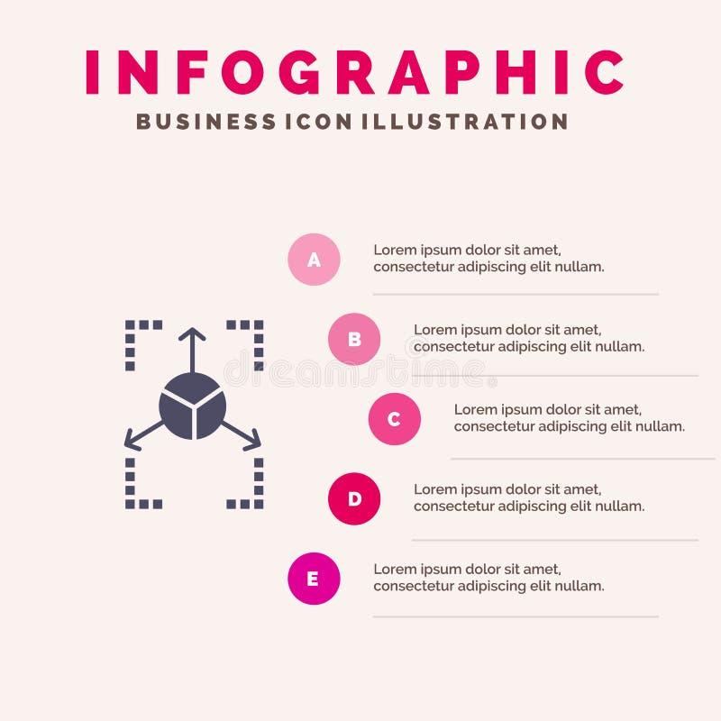 Prototype, Grid, Database, Chart Infographics Presentation Template. 5 Steps Presentation vector illustration