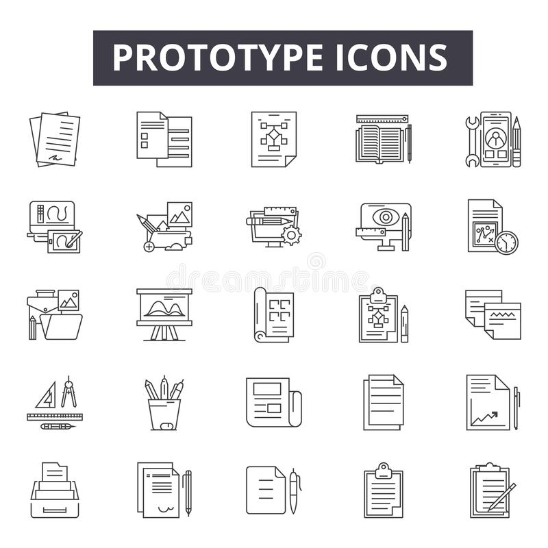 Prototype line icons, signs, vector set, linear concept, outline illustration. Prototype line icons, signs, vector set, outline concept linear illustration vector illustration