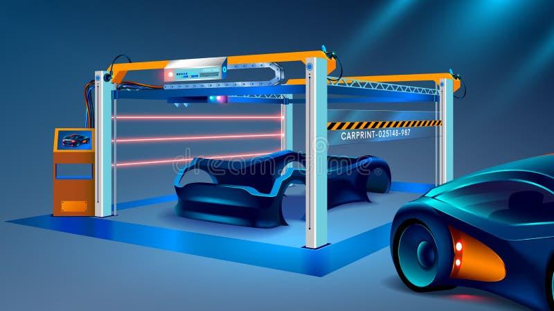 prototyping 3d och 3d printing av en bil, bilar på en stor industriell skrivare 3d Biltillverkning stock illustrationer
