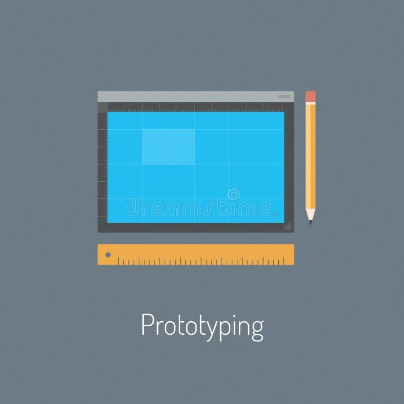 Prototyping design flat illustration. Flat design modern vector illustration icons set of drawing draft process and prototyping application design or website royalty free illustration