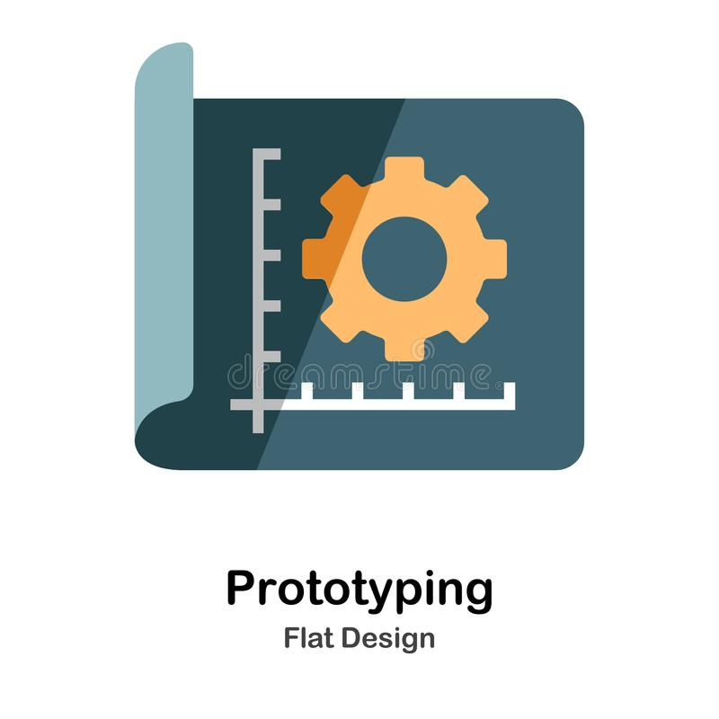 Prototyping Flat Icon. Prototyping Icon In Flat Color Design Vector Illustration royalty free illustration