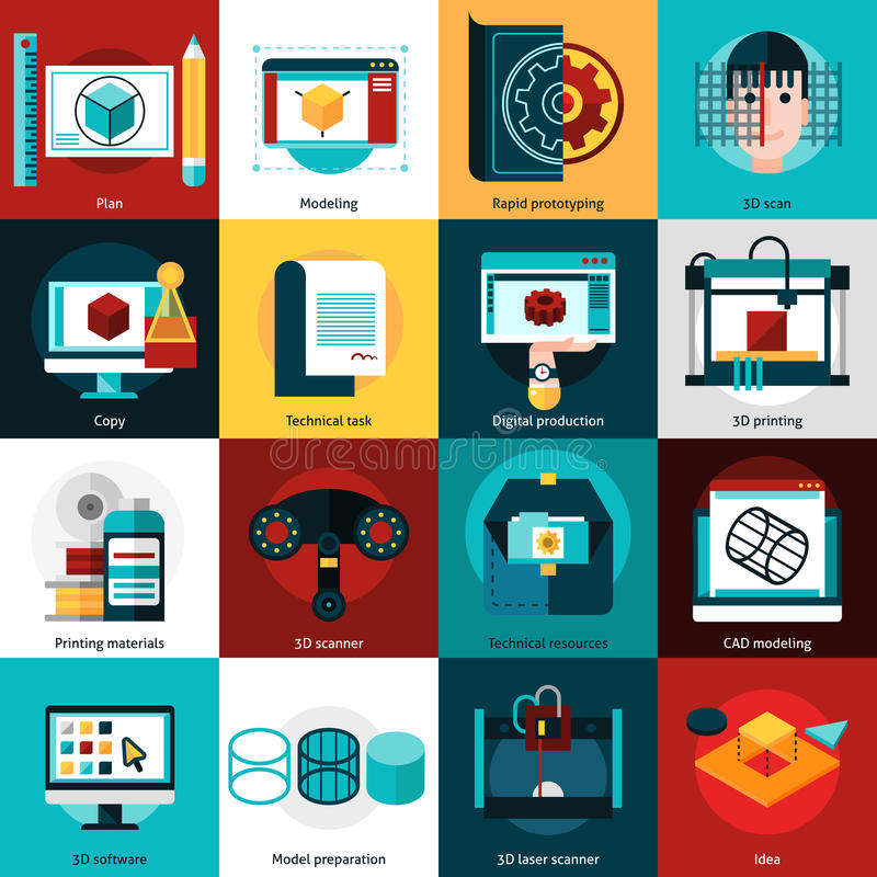 Prototyping And Modeling Icons. 3D technology flat icons set for prototyping with laser scanner 3d printer and cad modeling vector illustration royalty free illustration