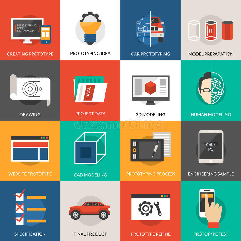 Prototyping And Modeling Icons Set. Prototyping idea and cad modeling icons set vector illustration vector illustration